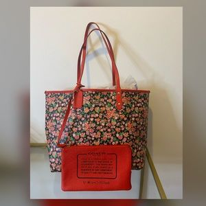 Red/Floral Coach Convertible Tote Purse Bag
